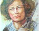 Combodia soldier.26x34cm. Water-color on paper.Year 1992